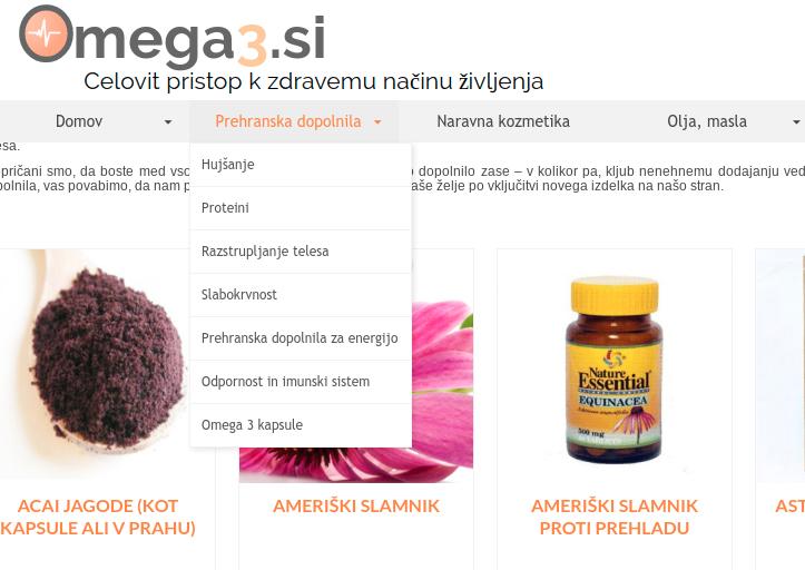 spletna trgovina kategorizacija izdelkov